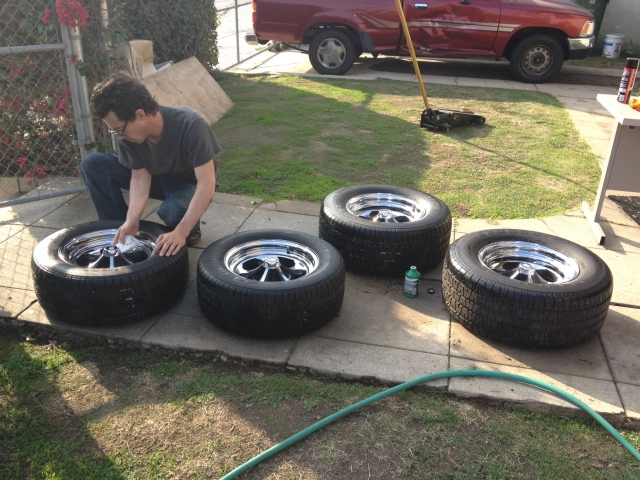 Damion spiffing up the tires